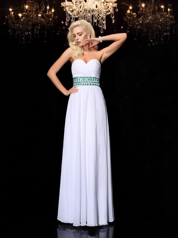 A-Line/Princess Rhinestone Sweetheart Sleeveless Floor-Length Chiffon Dresses