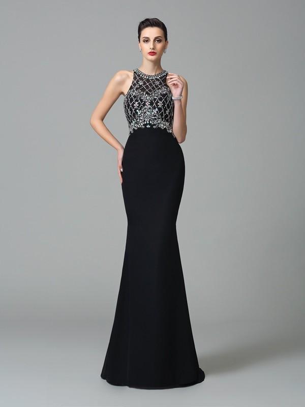 Trumpet/Mermaid Rhinestone Jewel Sleeveless Sweep/Brush Train Chiffon Dresses