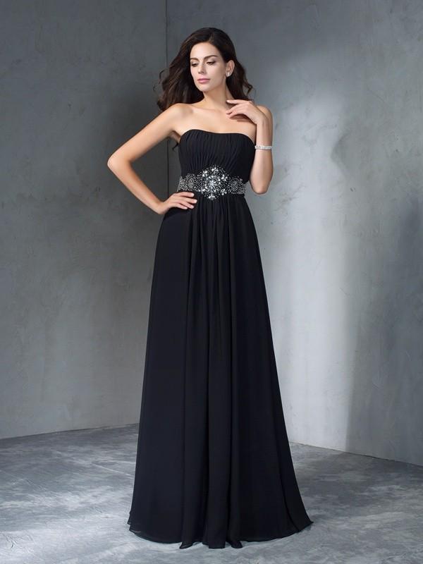A-Line/Princess Beading Strapless Sleeveless Floor-Length Chiffon Dresses