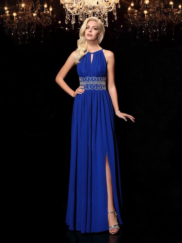 A-Line/Princess Beading Jewel Sleeveless Floor-Length Chiffon Dresses