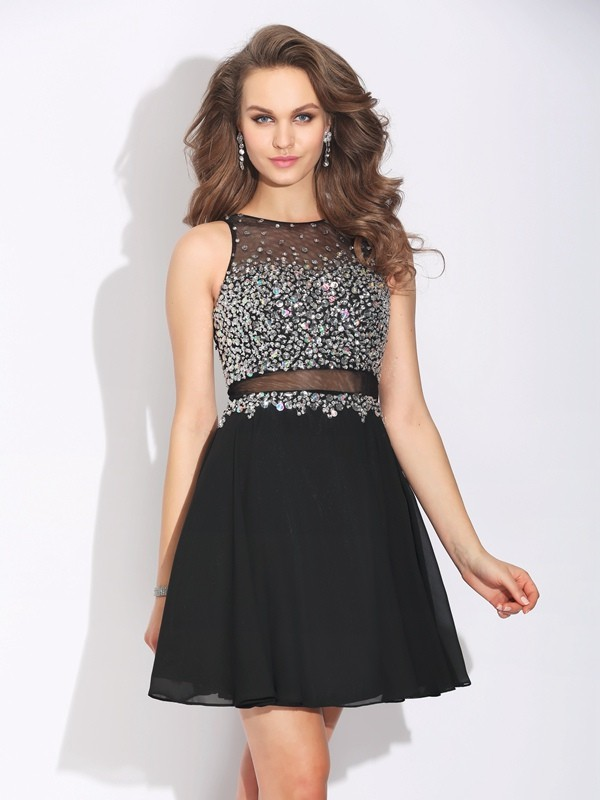 A-Line/Princess Beading Jewel Sleeveless Short/Mini Chiffon Dresses