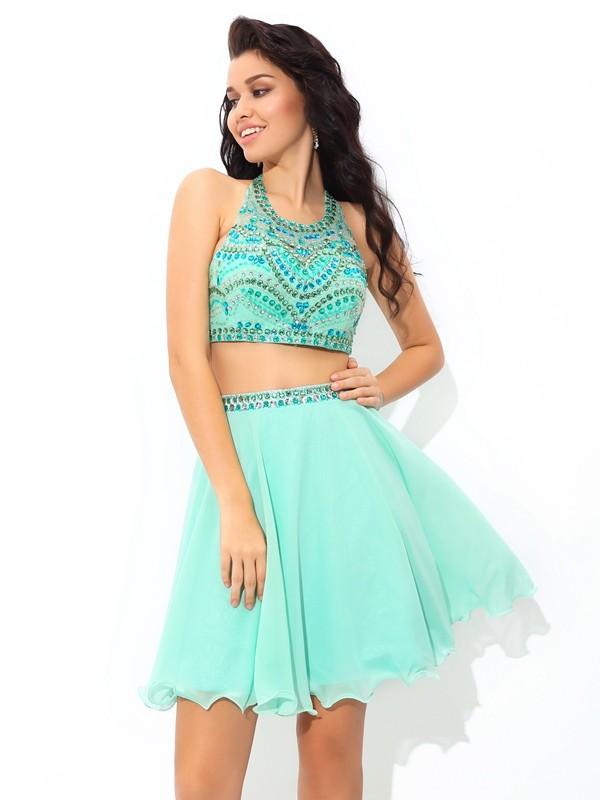 A-Line/Princess Rhinestone Sheer Neck Sleeveless Short/Mini Chiffon Two Piece Dresses