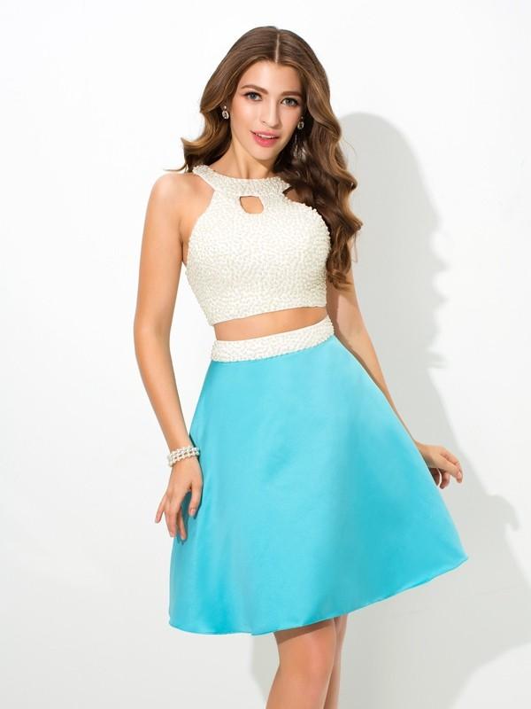 A-Line/Princess Beading Jewel Sleeveless Short/Mini Satin Two Piece Dresses