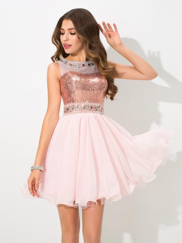 A-Line/Princess Sequin Sheer Neck Sleeveless Short/Mini Chiffon Dresses