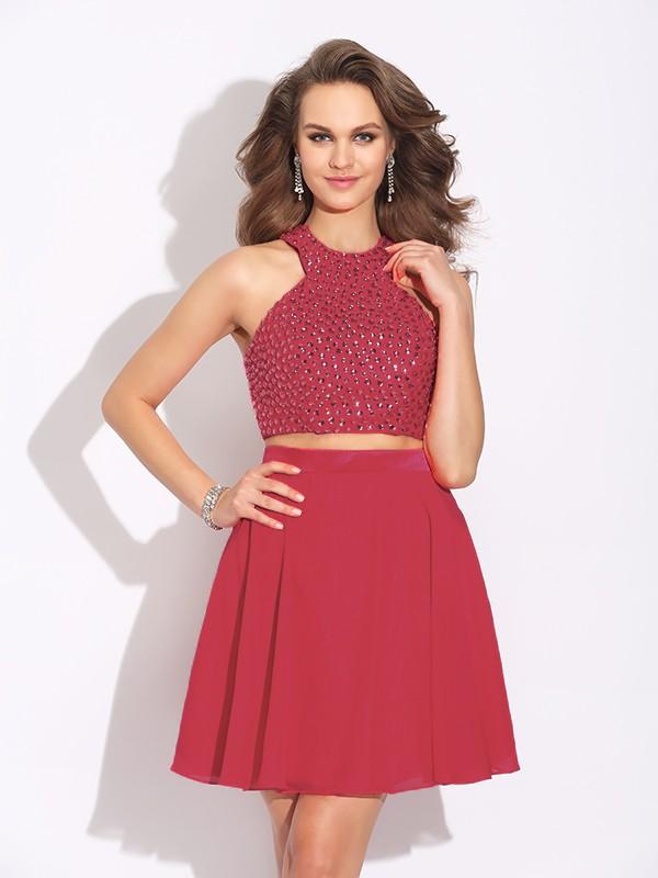 A-Line/Princess Crystal Jewel Sleeveless Short/Mini Chiffon Two Piece Dresses