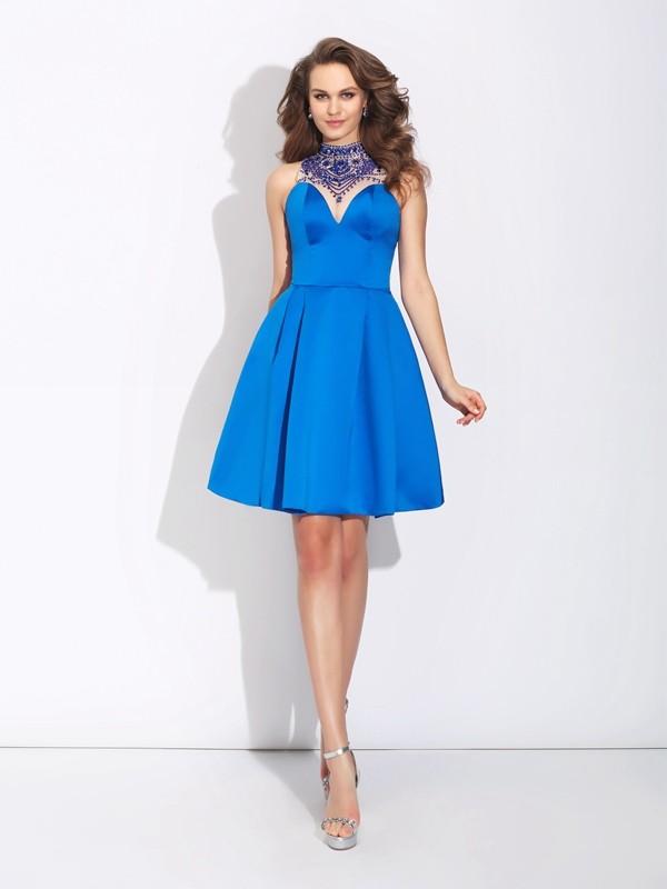 A-Line/Princess Beading High Neck Sleeveless Short/Mini Satin Dresses