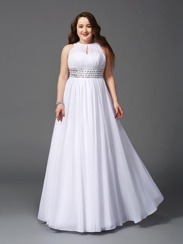 A-Line/Princess Beading Jewel Sleeveless Floor-Length Chiffon Plus Size Dresses
