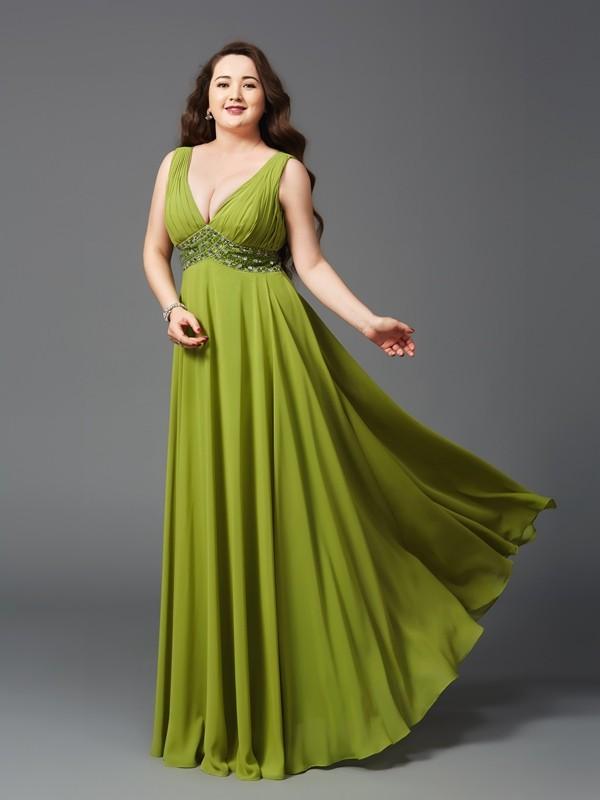 A-Line/Princess Rhinestone Straps Sleeveless Floor-Length Chiffon Plus Size Dresses