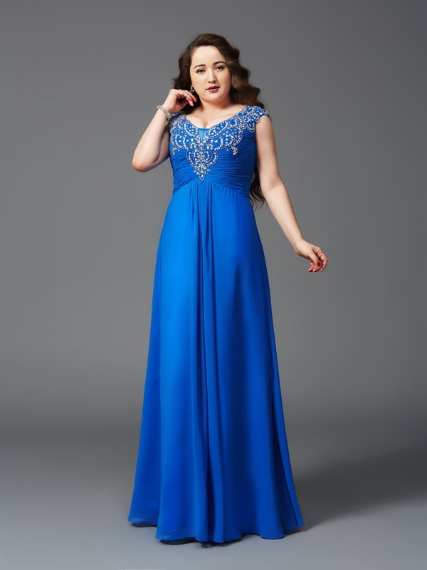 A-Line/Princess Beading Straps Short Sleeves Floor-Length Chiffon Plus Size Dresses