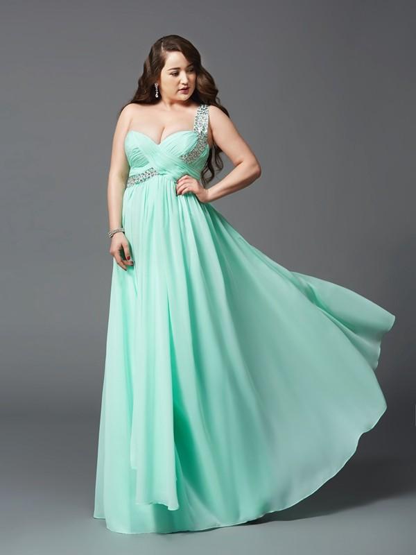 A-Line/Princess Rhinestone One-Shoulder Sleeveless Floor-Length Chiffon Plus Size Dresses