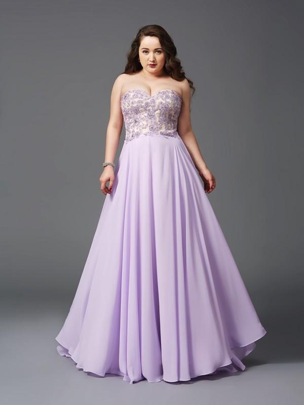 A-Line/Princess Lace Sweetheart Sleeveless Sweep/Brush Train Chiffon Plus Size Dresses