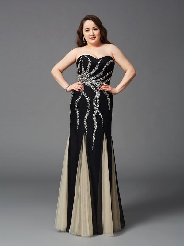 Sheath/Column Beading Sweetheart Sleeveless Floor-Length Chiffon Plus Size Dresses