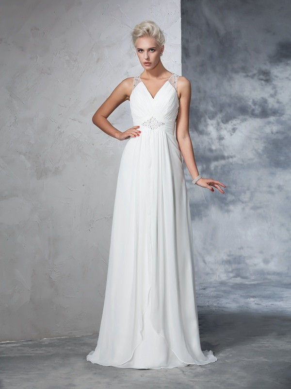 A-Line/Princess Ruched V-neck Sleeveless Sweep/Brush Train Chiffon Wedding Dresses