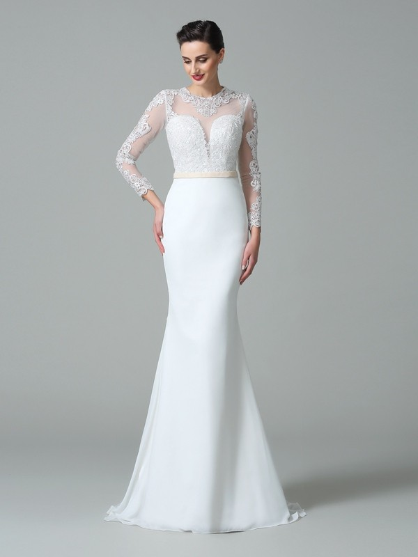 Trumpet/Mermaid Lace Jewel Long Sleeves Sweep/Brush Train Satin Wedding Dresses