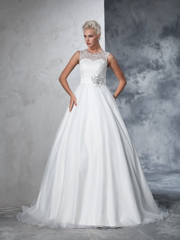 Ball Gown Lace Sheer Neck Sleeveless Chapel Train Net Wedding Dresses