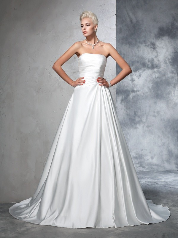Ball Gown Ruched Strapless Sleeveless Chapel Train Satin Wedding Dresses