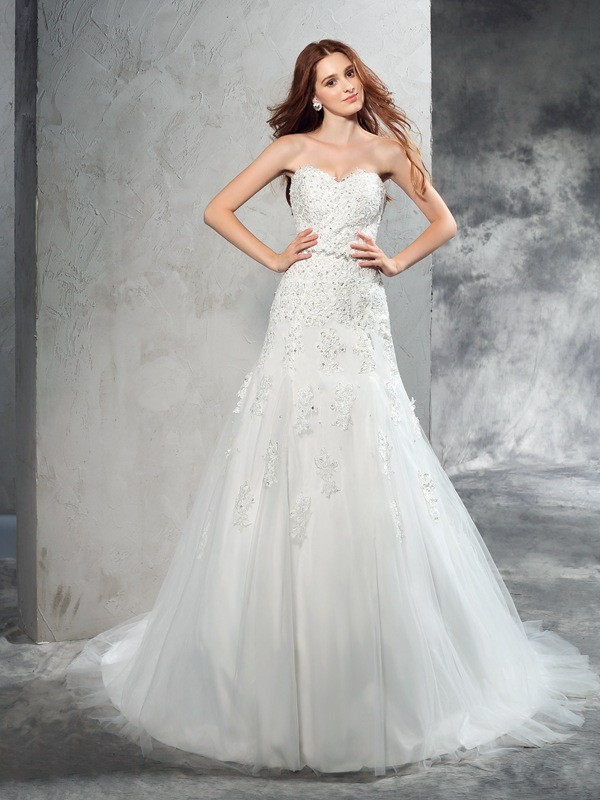 Sheath/Column Applique Sweetheart Sleeveless Court Train Satin Wedding Dresses
