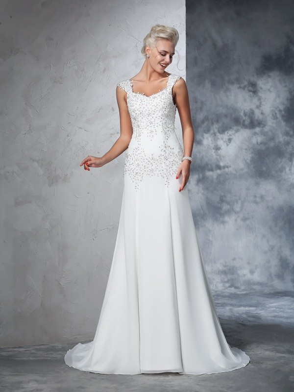 A-Line/Princess Beading Straps Sleeveless Court Train Chiffon Wedding Dresses