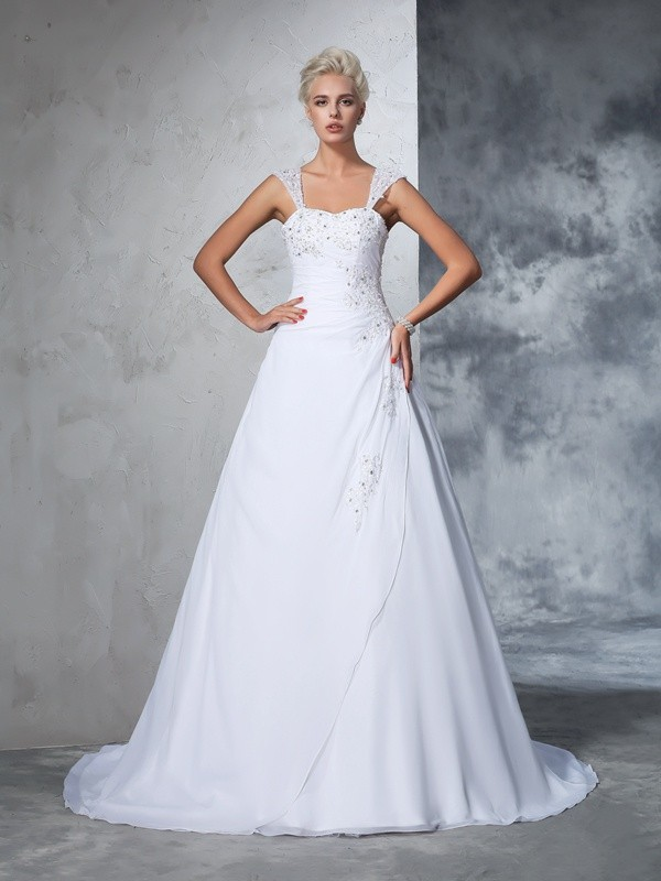 Ball Gown Applique Straps Sleeveless Court Train Chiffon Wedding Dresses