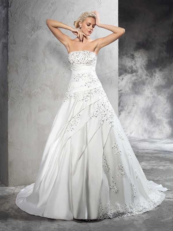 Ball Gown Beading Strapless Sleeveless Court Train Satin Wedding Dresses