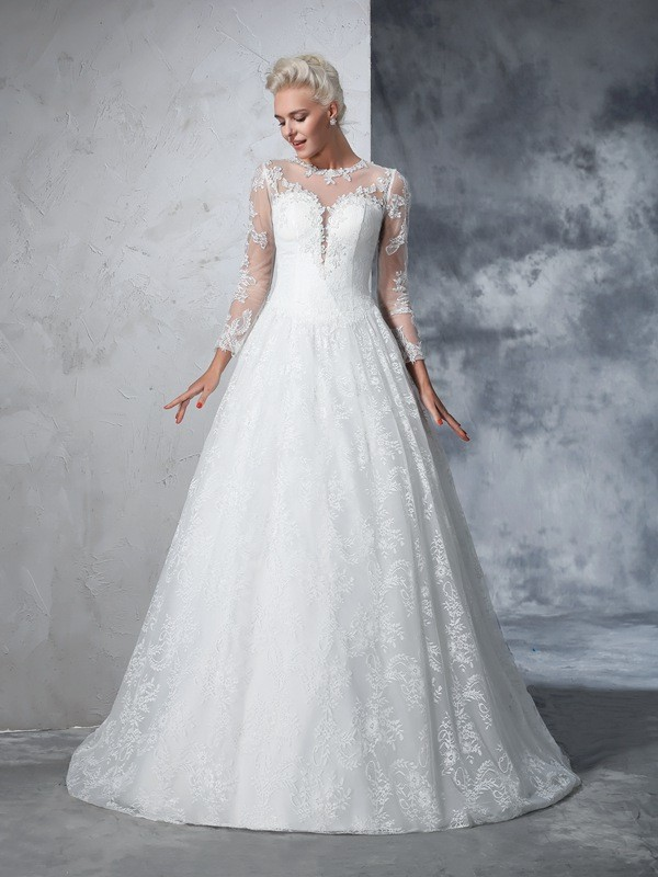 Ball Gown Lace Jewel Long Sleeves Court Train Lace Wedding Dresses