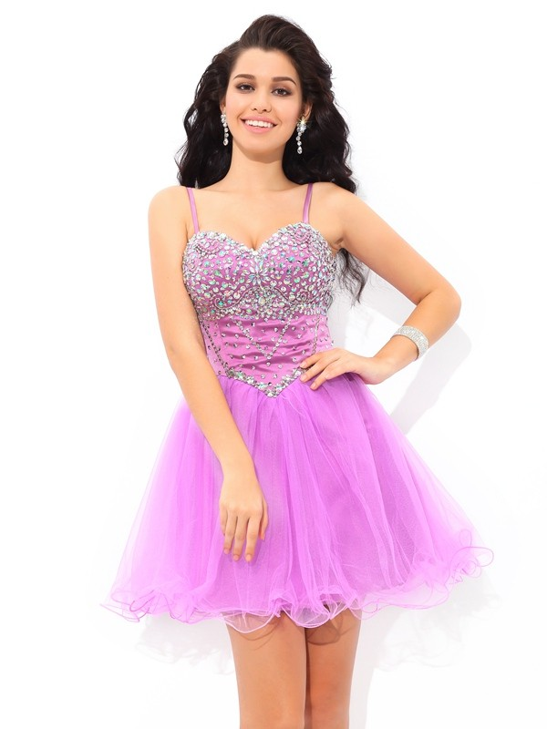 A-Line/Princess Paillette Spaghetti Straps Sleeveless Short/Mini Net Dresses