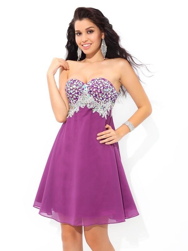 A-Line/Princess Rhinestone Sweetheart Sleeveless Short/Mini Chiffon Dresses