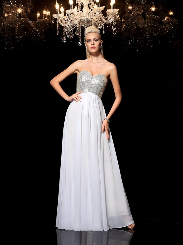 A-Line/Princess Sequin Sweetheart Sleeveless Floor-Length Chiffon Dresses