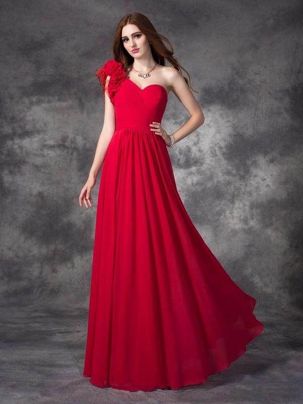 A-Line/Princess Hand-Made Flower One-Shoulder Sleeveless Floor-Length Chiffon Dresses