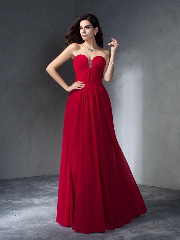 A-Line/Princess Pleats Sweetheart Sleeveless Floor-Length Chiffon Dresses