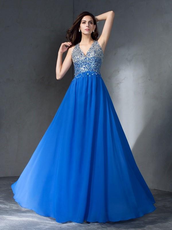 A-Line/Princess Beading V-neck Sleeveless Floor-Length Chiffon Dresses
