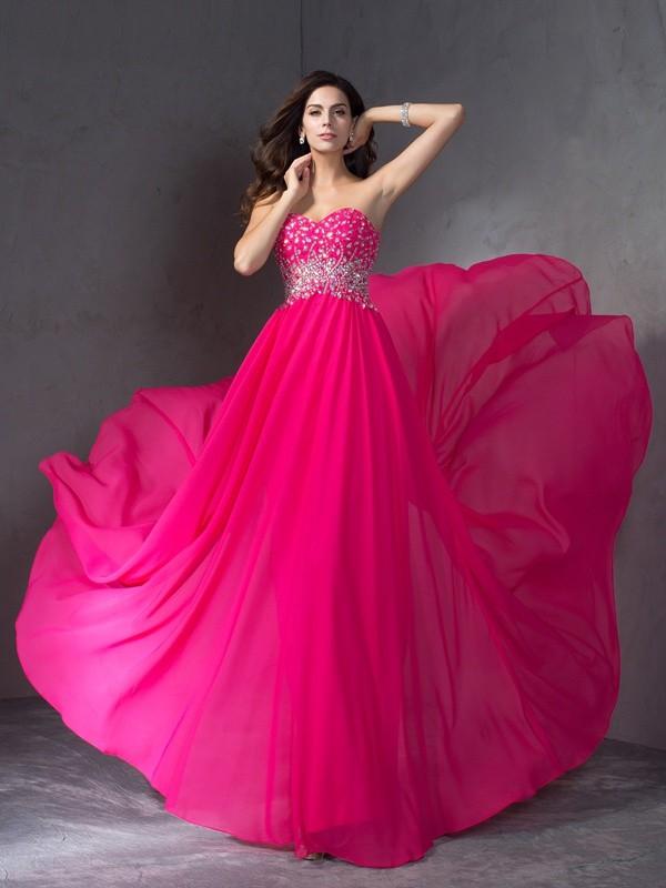 A-Line/Princess Beading Sweetheart Sleeveless Sweep/Brush Train Chiffon Dresses
