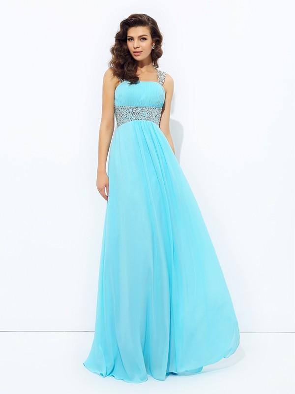 A-Line/Princess Sequin Straps Sleeveless Floor-Length Chiffon Dresses