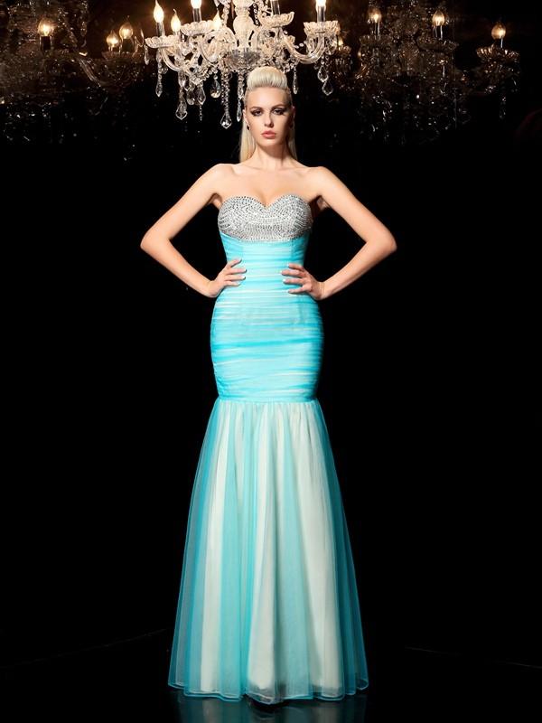 Sheath/Column Sequin Sweetheart Sleeveless Floor-Length Net Dresses