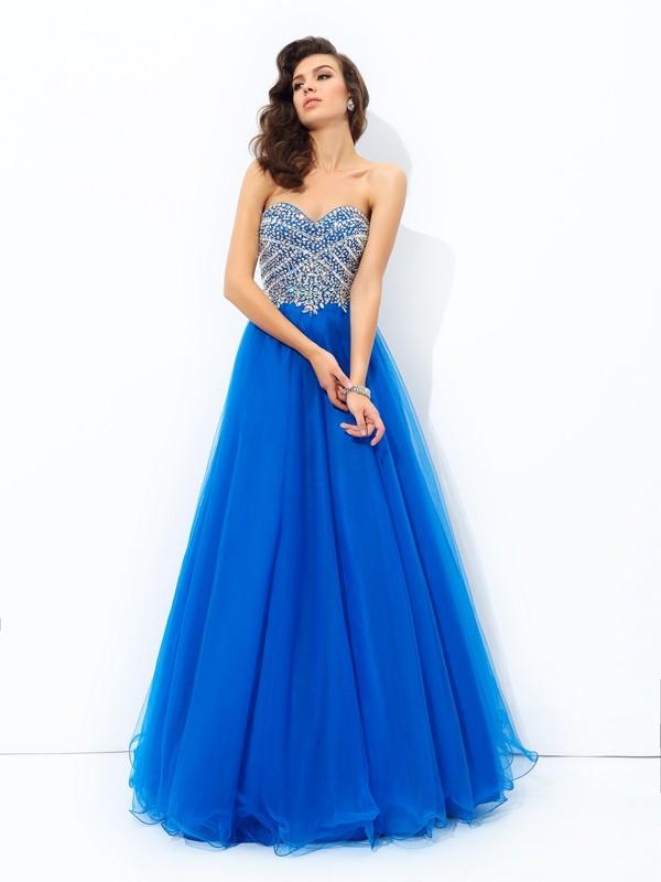 A-Line/Princess Sequin Sweetheart Sleeveless Floor-Length Net Dresses