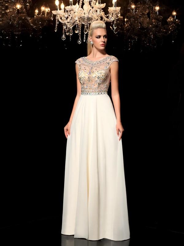 A-Line/Princess Rhinestone Sheer Neck Sleeveless Floor-Length Chiffon Dresses