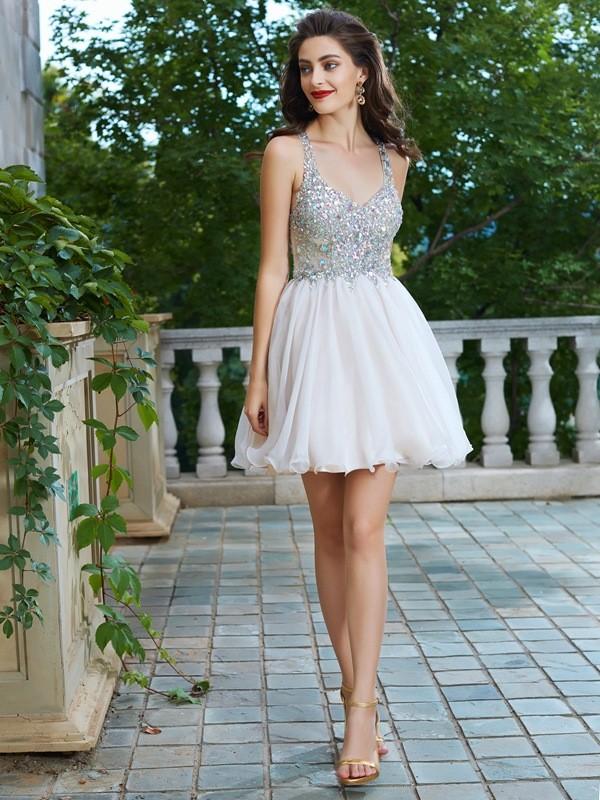 A-Line/Princess Rhinestone Straps Sleeveless Short/Mini Chiffon Dresses