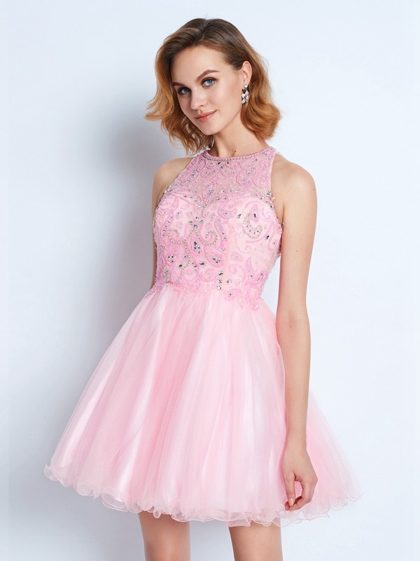 A-Line/Princess Ruffles Jewel Sleeveless Short/Mini Net Dresses