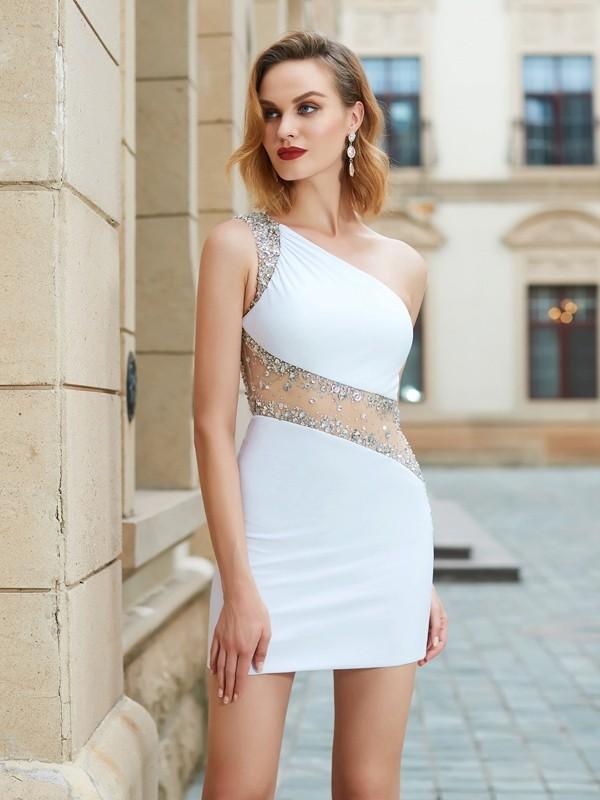 Sheath/Column Beading One-Shoulder Sleeveless Short/Mini Net Dresses