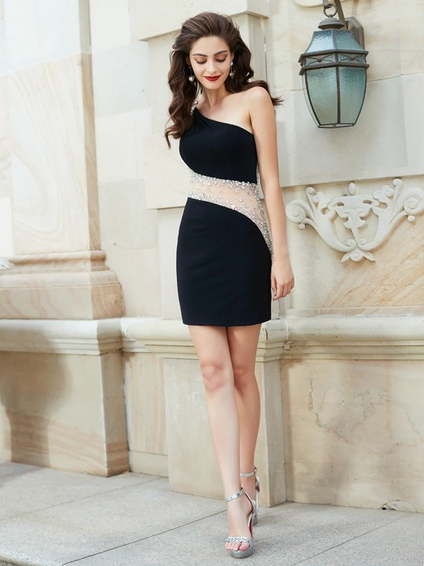 Sheath/Column Beading One-Shoulder Sleeveless Short/Mini Net Dresses