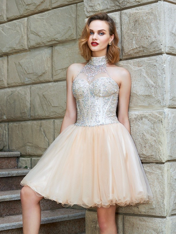 A-Line/Princess Beading Halter Sleeveless Short/Mini Net Dresses