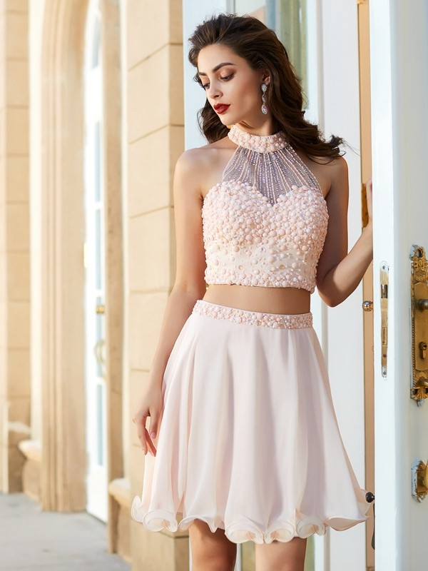 A-Line/Princess Beading Halter Sleeveless Short/Mini Chiffon Two Piece Dresses