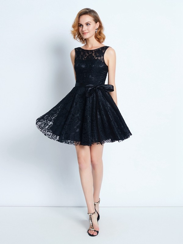 A-Line/Princess Sash/Ribbon/Belt Scoop Sleeveless Short/Mini Lace Dresses