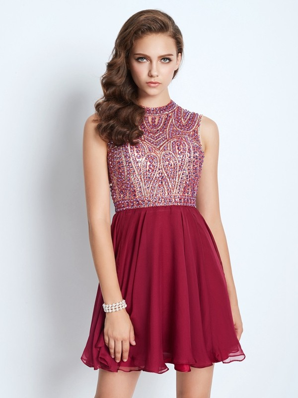 A-Line/Princess Beading Jewel Sleeveless Short/Mini Chiffon Dresses