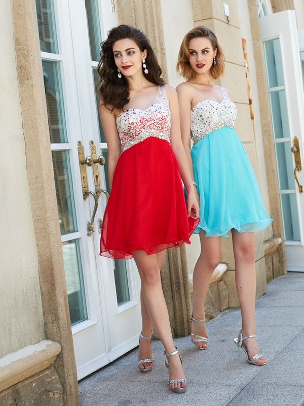 A-Line/Princess Beading One-Shoulder Sleeveless Short/Mini Chiffon Dresses