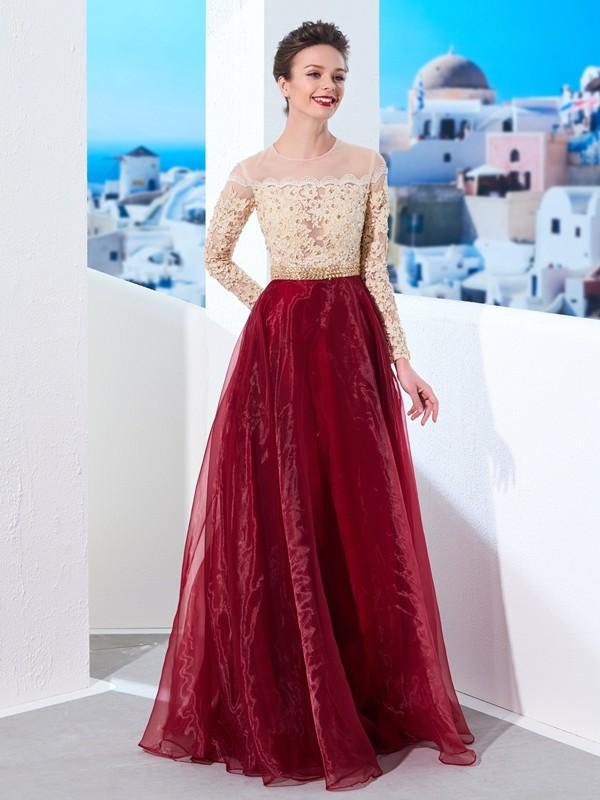 A-Line/Princess Applique Sheer Neck Long Sleeves Floor-Length Organza Dresses