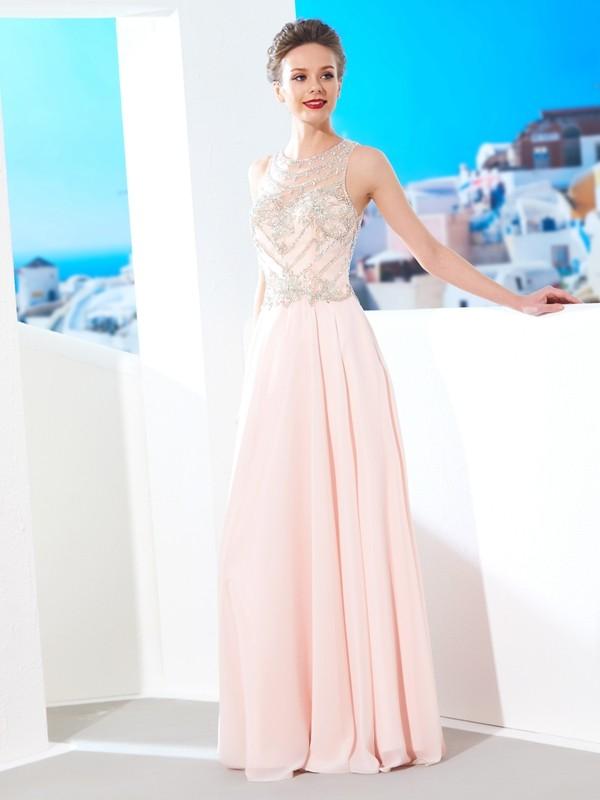 A-Line/Princess Crystal Scoop Sleeveless Floor-Length Chiffon Dresses