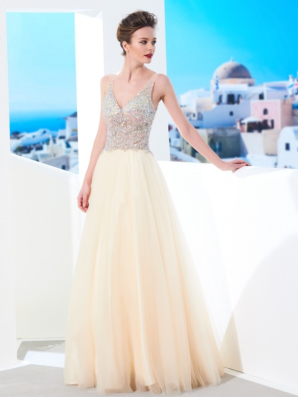 Ball Gown Beading V-neck Sleeveless Floor-Length Tulle Dresses