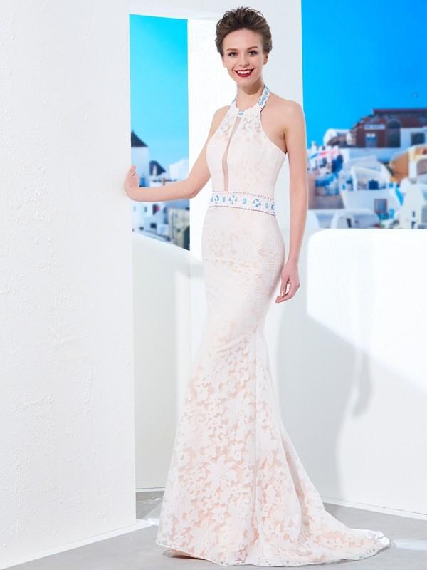 Sheath/Column Lace Halter Sleeveless Floor-Length Lace Dresses