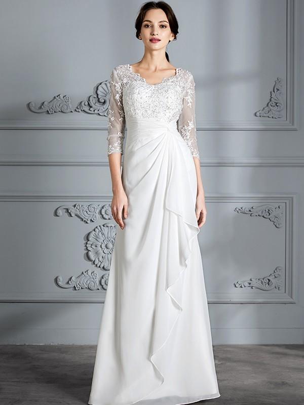 Sheath/Column V-neck 3/4 Sleeves Floor-Length Chiffon Wedding Dresses